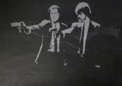 Laser Gravur auf Schieferplatte
