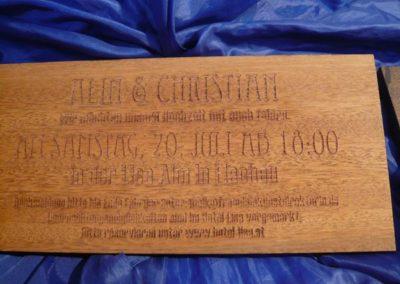 Wir fertigen Holzgravur